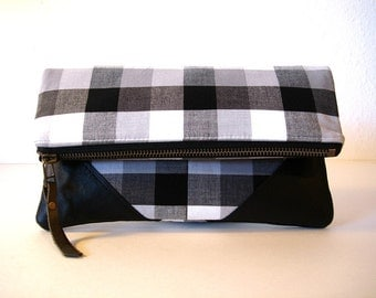 Foldover Zipper Clutch Black and White Gingham and Leather