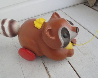 Vintage Fisher Price Raccoon Pull Toy 1979