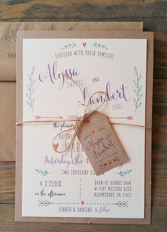 Boho Wedding Invitation, beach wedding invite, purple wedding invites, Rustic wedding invitations, twine and tag wedding invitation