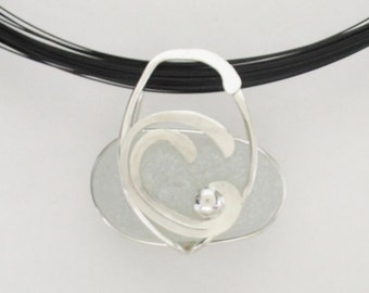 Sea Glass Jewelry - Sterling Caged White Sea Glass Necklace