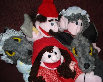 set of 5 Red riding hood hand puppets Wolf, Wolf in nightgown, Red riding hood, Grandma, Woodcutter