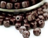 60 - 4mm Luster Opaque Brown Cube Czech Beads - 100% Guarantee