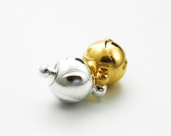 Sale 1 Magnetic EggShell Ball Clasp - 12mm X 6mm - Silver Plated or Gold Plated - 100% Guarantee