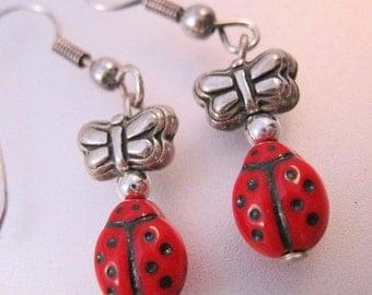 BIGGEST SALE of the Year Lady Bug Butterfly Sterling Silver Dangle Drop Earrings Glass Vintage Jewelry Jewellery