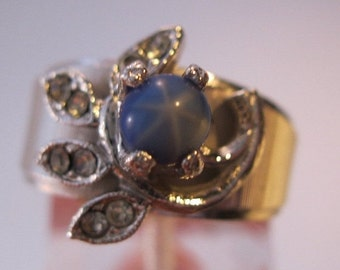 HALLOWEEN SALE Vintage Faux Star Sapphire 18K Hge Ring Size 7 Sgd Costume Jewelry Jewellery