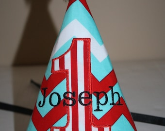 aqua blue, red boys 1st birthday hat, personalized boys birthday hat, chevron aqua blue, red, white, smash cake outfit, first birthday hat