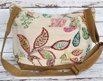 Womens camera bags, made in the USA by Darby Mack Grey Floral Linen and Waxed Canvas Lightweight & durable