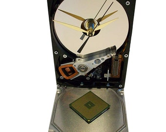 FREE Shipping USA! Striking CPU Accented Hard Drive Clock from a Recycled Hard Drive. Cool Conversation Piece.