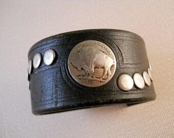 Repurposed Belt Buffalo Nickel Bracelet