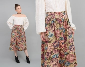Vintage 80s Floral Skirt Cotton TAPESTRY Print High Waist Button Front 1980s Romantic Pleated Midi Skirt Small S