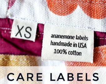 Garment Care Labels - custom printed on organic cotton (loop labels)