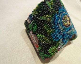 Antique Beaded Purse Cuff Bracelet