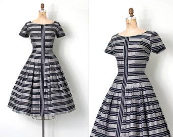 vintage 1950s dress | black and grey striped 50s dress | Taller Modes