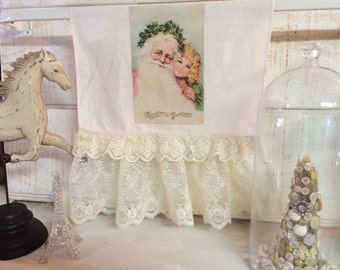 Antique lace and linen with vintage style image of Santa & little girl tea towel Holiday Entertaining and Gifts