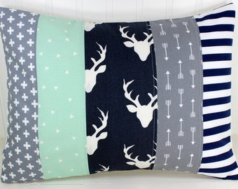 Woodland Nursery, Baby Bedding, Baby Boy, Pillow Cover, 12 x 16, Cushion Cover, Decorative Pillows, Navy, Grey, Gray, Mint, Deer, Arrow