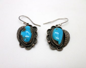 Earrings Blue Turquoise and Silver Vintage Southwest Native American Style Very Blue Stones