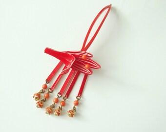 Red Kanzashi Hair Ornament Bira Bira Flower Design From Japan