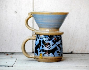 Coffee mug and dripper, ceramic dripper and mug set, pour over coffee maker in black and blue