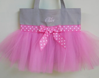 Personalized Ballet Bag Tutu tote bag  Gray tote bag with hot pink polka dot ribbon and hot pink tulle Embroidered Tutu Dance Bag TB13  BP