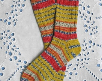 Hand Knit Socks Women Medium Size, Red Yellow, Superwash Opal Wool Yarn