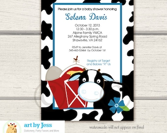 Dairy Cow Barn Boy Baby Shower Invitations, Print your own digital JPG or Printed Cow Baby Shower Invitations bs-018