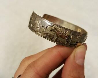 Vintage Native American Sterling Gold Filled Storyteller Cuff Bracelet - TA Begay