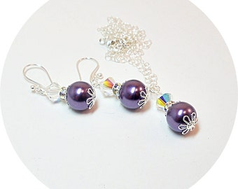 Purple Jewelry Set, Necklace and Earrings, Plum, Pearl Pendant, Bridesmaid Jewelry, Bridal Accessories, Wedding Jewelry, Bridal Jewelry