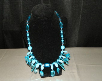 Ethiopian Style Turquoise Silver Beaded Tribal Statement Bib Necklace