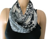 Chiffon infinity scarf Charcoal black gray ,abstract like pattern chiffon infinity Scarf Chiffon cowl Instant gratification