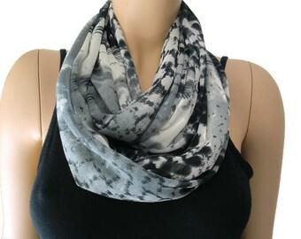 Chiffon infinity scarf Charcoal black gray ,abstract like pattern chiffon infinity Scarf Chiffon cowl Instant gratification