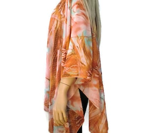 Boho Kimono cardigan - Sunset sky with silver dots- settled burnt orange, salmon,blue,chiffon kimono--Ruana-Many colors