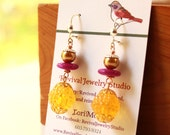 Bright Earrings for Fall - Yellow, Purple, and Silver Dangle Earrings - Gift for Her