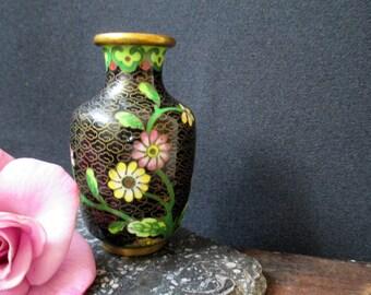 "Vintage Black CLOISONNE vase, black enamel and brass, Asian art, 3 1/4"" tall"