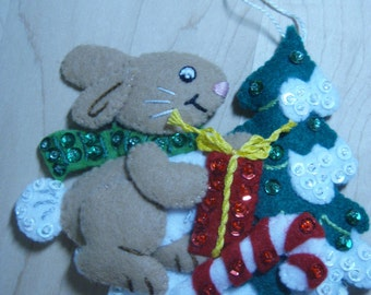 Bucilla Felt BUNNY CHRISTMAS ORNAMENT from the Forest Friends Collection