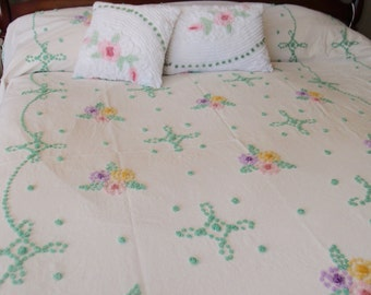 "Vintage Chenille Bedspread, older hand tufted pastel popcorn on white with flowers, 89"" wide by 104"" long - #800-112"