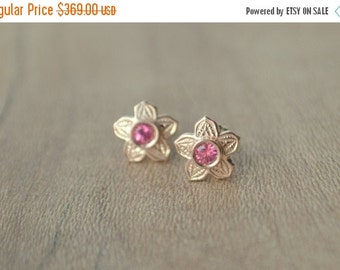 SALE Victorian Flower Earrings in Rose Gold with Mahenge Spinel
