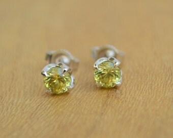 White Gold Garnet Studs, garnet earrings, yellow garnet earrings, gemstone earrings, floral studs, white gold post earrings