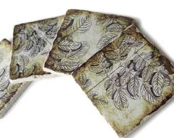 Set of 4 Tile Coasters, Drink Coasters for Housewarming Gift, Rustic Coasters, Table Coasters, Brown Decor, Nature Coaster Set