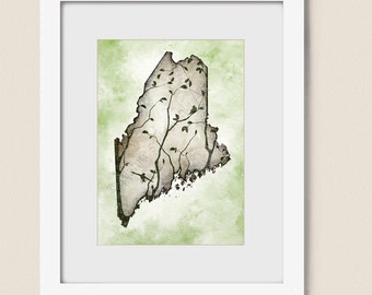 5 x 7 Maine State Art, Brown Wall Decor, Maine Wall Art Print, Maine Print, Living Room Decor, State Wall Art   (234)