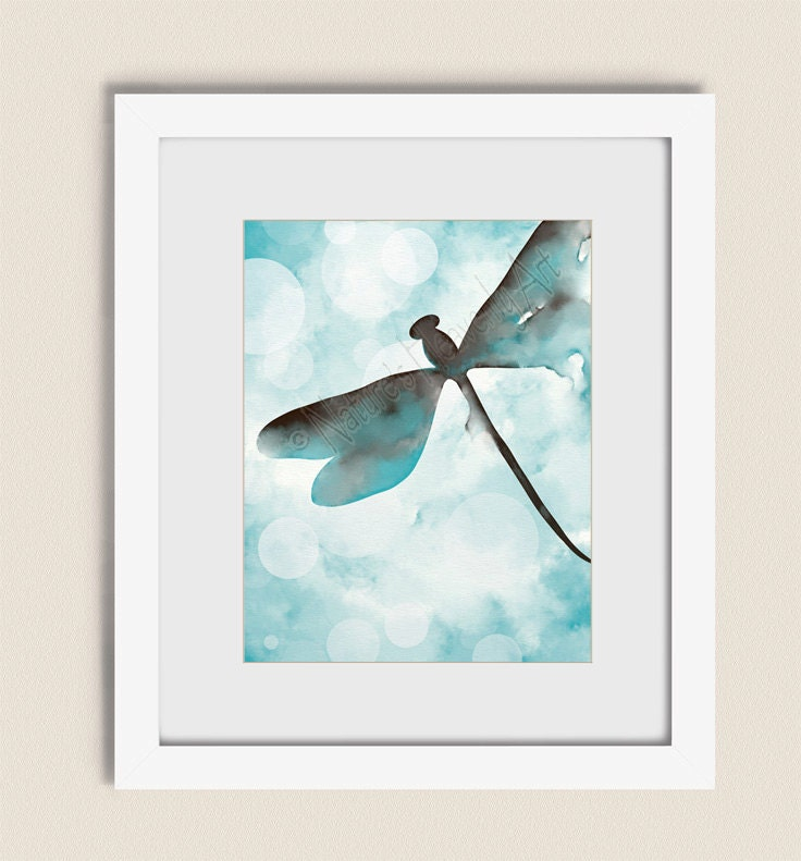 Brown and blue wall decor dragonfly art blue aqua wall art for Blue and brown wall art