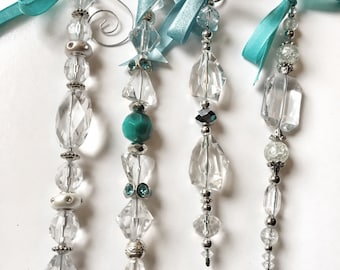 Set of turquoise bead ornaments: Buy 4, get one free!