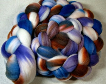 Azure Copper Light merino wool top for spinning and felting (4 ounces)