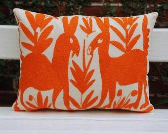 Orange Pillow Sham-Otomi Embroidery Ready to ship.