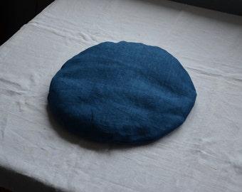 Zabuton meditation boho seat pad indigo natural dyes round cushion blue linen circular pillow floor seat yoga plant eco therapeutic vegan