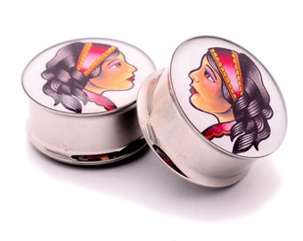 Gypsy Woman Style 2 Picture Plugs gauges - 16g, 14g, 12g, 10g, 8g, 6g, 4g, 2g, 0g, 00g, 7/16, 1/2, 9/16, 5/8, 3/4, 7/8, 1 inch