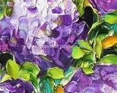 Oil Painting Art Purple Hydrangeas Impasto Painting on Canvas