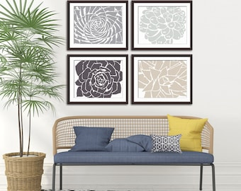 Modern Succulent Botanicals - Set of 4 - Art Prints (Featured in Dolphin, Fog Grey, Charcoal and French Grey) Desert Rose Art Prints