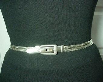 Vintage Silver Tone Metal Double Chain-links Buckle Belt Medium