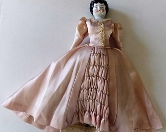 Vintage Porcelain Doll With Hand Sewn Clothing, Tiny Stitching, Well Made, Collectible, Antique, Beautiful
