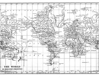 Black white  world map printable file instant download.  Large vintage 1915  image for wall hanging or background, also in gray and blue.